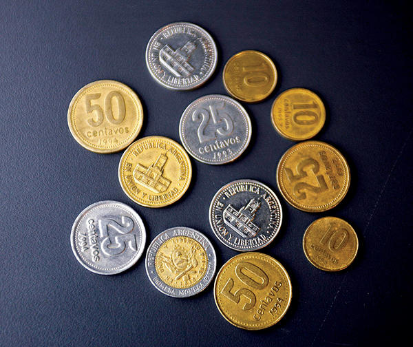 The peso is the currency of Chile. The current peso has circulated since , with a previous version circulating between and Its symbol is defined as a letter S with either one or two vertical bars superimposed prefixing the amount, $ or ; the single-bar symbol, available in most modern text systems, is almost always used.
