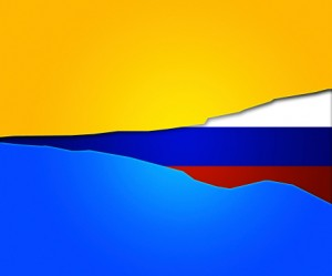 Russiand and Ukrainian flag from Crimea
